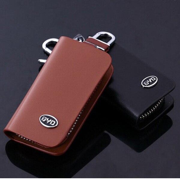 Новый Сплав брелок Кожа Ключа Автомобиля Держатель Сумка-Чехол Для BYD Коричневый Черный Цвет