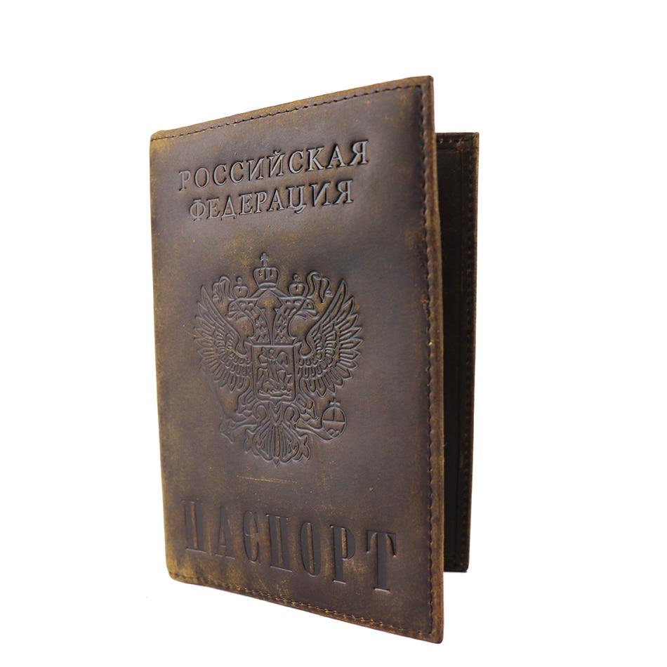 Orosz nemzeti embléma valódi bőr paszomány borító S596 férfi - Pénztárcák