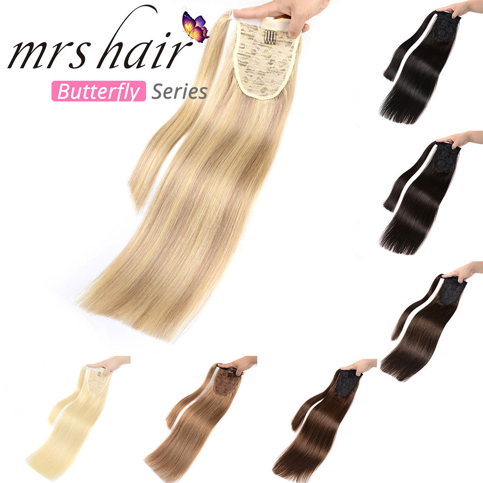 """MRS HAIR Ponytail Hair Extensions 14"""" 18"""" 22"""" Machine Made Remy Wrap Around Tail Human Hair Full Head Clip In Hairpins(China)"""