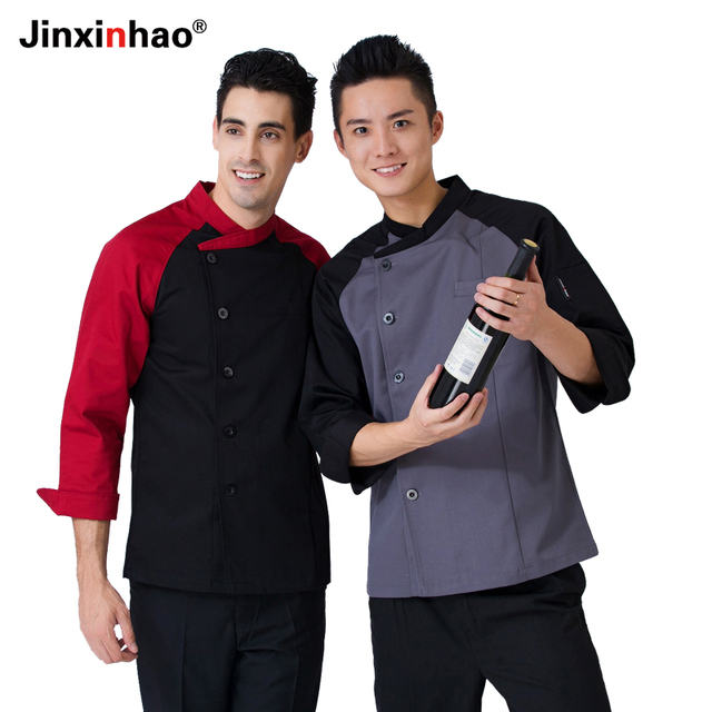8d2ecdd3fec Chefs Uniforms Spring Long Sleeve Hotel Gray Chefwear For Man White Chef  Jackets Coats For Women