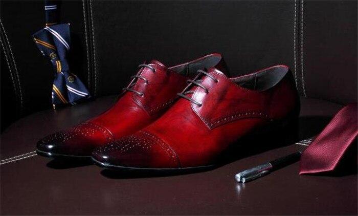 Roter Brogue Schuhe Rot Lace Handgemachter Britischen Geschäfts Geschnitzte Goodyear Spitzschuh Leder up Arbeiten Oxfords Sie Herrenschuhe qHaaE