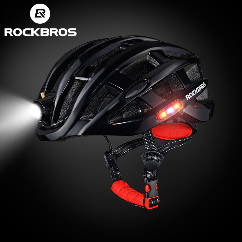 ROCKBROS Cycling Helmet Front Light Integrally-Molded Men Bike Helmet Mountain Road Bicycle Helmet Night Cycling Equipment H6109 rockbros titanium ti pedal spindle axle quick release for brompton folding bike bicycle bike parts