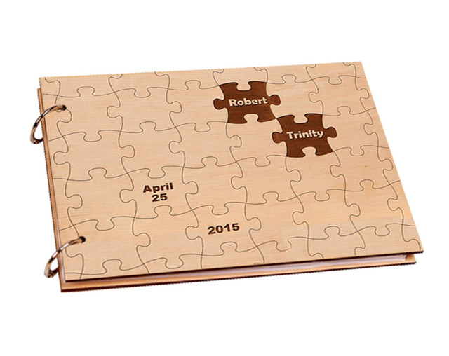 personalized puzzle wooden cover engagement guest book custom