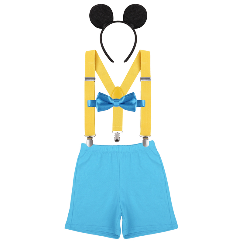 4pcs Set Baby Boy Girl Clothes Bloomers Y Back Suspenders Headband Mickey Mouse Baby Birthday Photo Costume Cake Smash Outfit