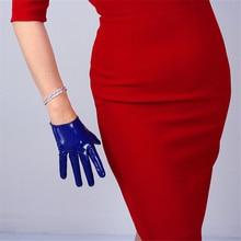 Patent Leather Gloves 16cm Ultra Short PU Mirror Bright  Dark Blue Women BL02