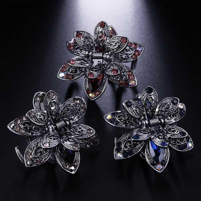 Retro Flower Rhinestones Hair Clip Hairpins Crystal Crab Hair Claws For Women  Girl Hair Accessories fab729547dfd