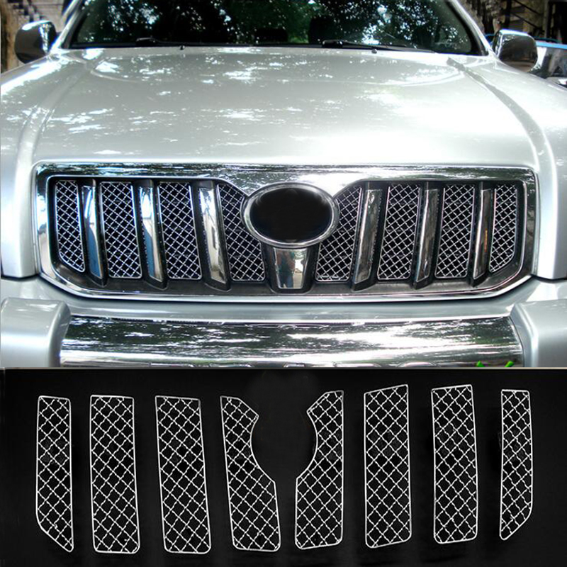 Stainless Steel 8pcs Car Screening Mesh Front Grille For <font><b>Toyota</b></font> <font><b>Land</b></font> <font><b>Cruiser</b></font> <font><b>Prado</b></font> FJ <font><b>120</b></font> 2003 2004 2005 <font><b>2006</b></font> 2007 2008 2009 image