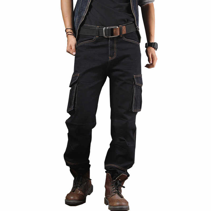 MORUANCLE Mens Casual Baggy Cargo Jeans Met Multi Big Pocket Losse Workwear Biker Tactische Denim Broek Plus Size 30-40