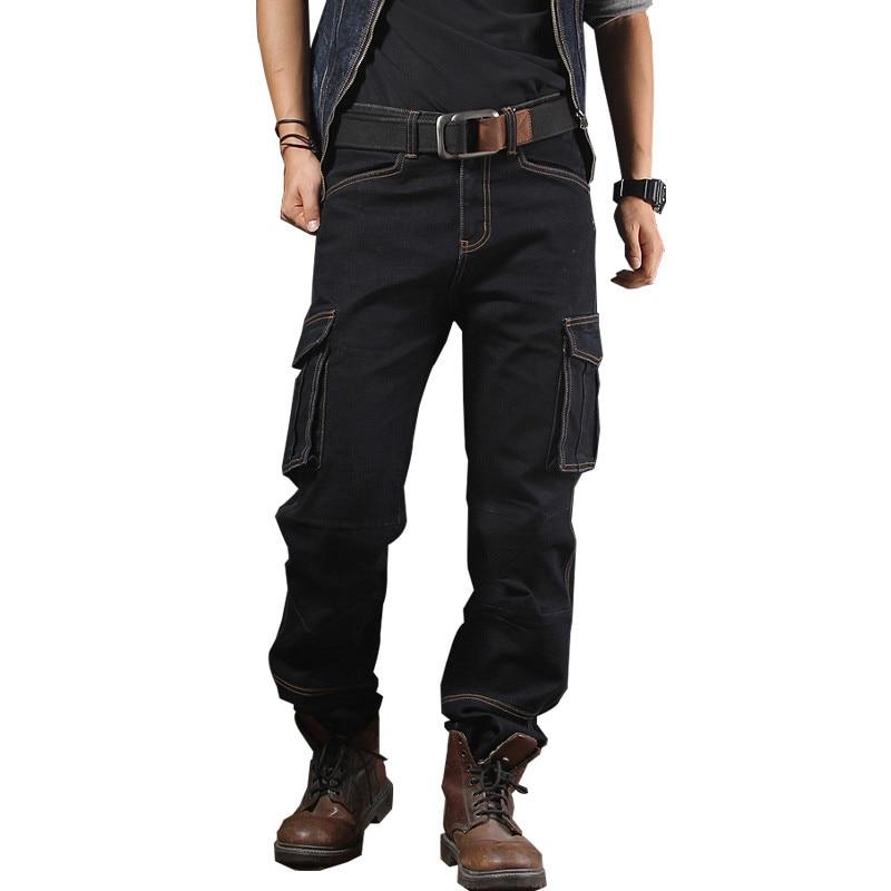 MORUANCLE Mens Casual Baggy Cargo Jeans Pants With Multi Big Pocket Loose Workwear Biker Tactical Denim Trousers Plus Size 30-40 mens casual blue jeans denim multi pocket loose outdoor straight legs cargo pants