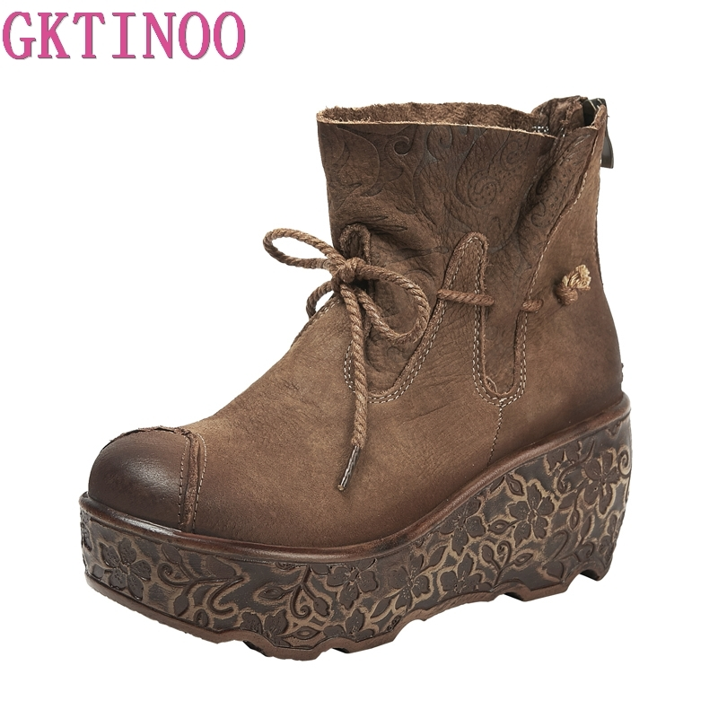 GKTINOO 2019 Fashion Platform Boots Women Retro Autumn Genuine Leather Ankle Boots for Women Soft Shoes Ladies Wedges