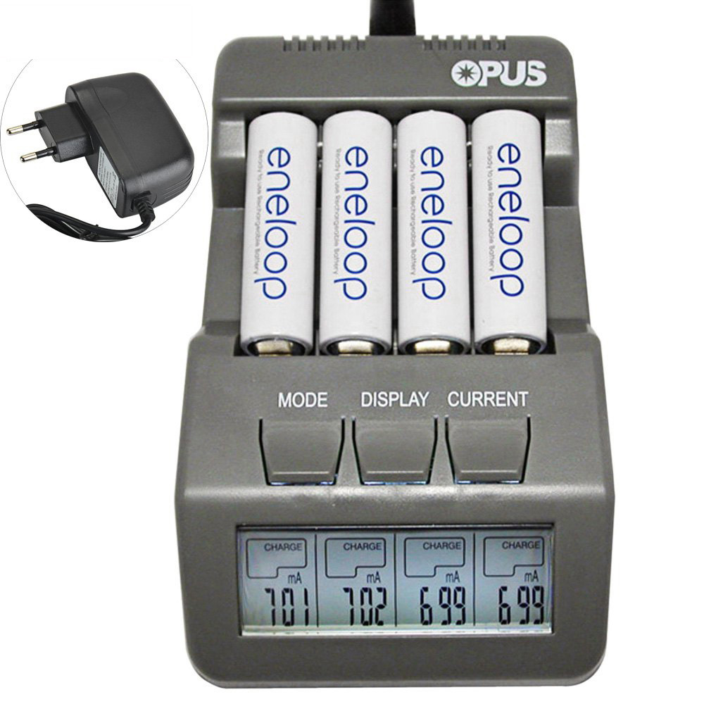 Opus BT-C700 4 Slot Intelligente AA AAA Battery Charger con schermo LCD Spina di UE Ni-Mh NiCd Caricabatteria