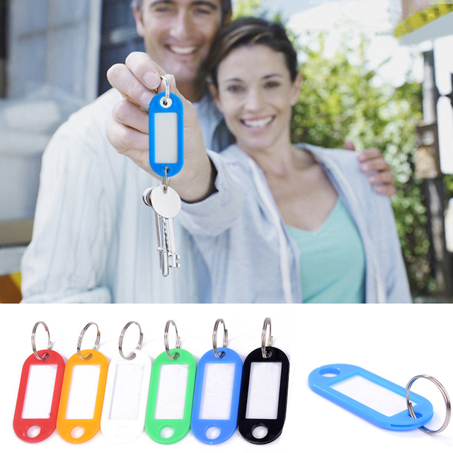 10PCS Colorful Key ID Labels Name Tags Split Ring Car Door Keyring Keychain Tags With Split Ring For Baggage Luggage Tag Travel 1
