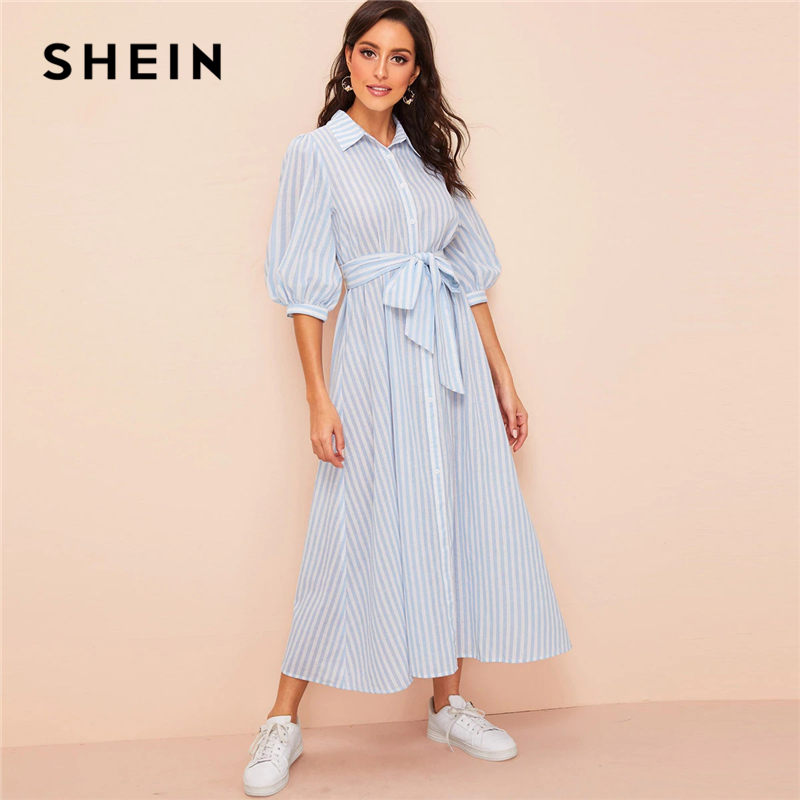 Шеин фонари рукавом полосатый поясом платье рубашка 2019 Кнопка Половина рукава летнее платье Бохо синий и белый для женщин платья для