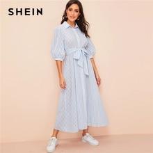 שיין פנס שרוול פסים חגור חולצה שמלת 2019 כפתור חצי שרוול קיץ שמלת Boho כחול ולבן נשים שמלות