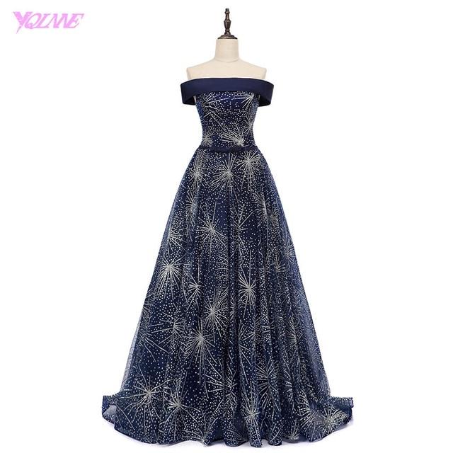 YQLNNE 2018 Luxury Shining Evening Dresses Off the Shoulder Navy Blue Shining Tulle Lace-Up Women Dress Vestido De Festa