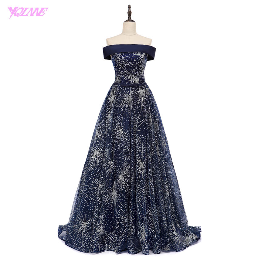 YQLNNE 2018 Luxury Shining   Evening     Dresses   Off the Shoulder Navy Blue Shining Tulle Lace-Up Women   Dress   Vestido De Festa
