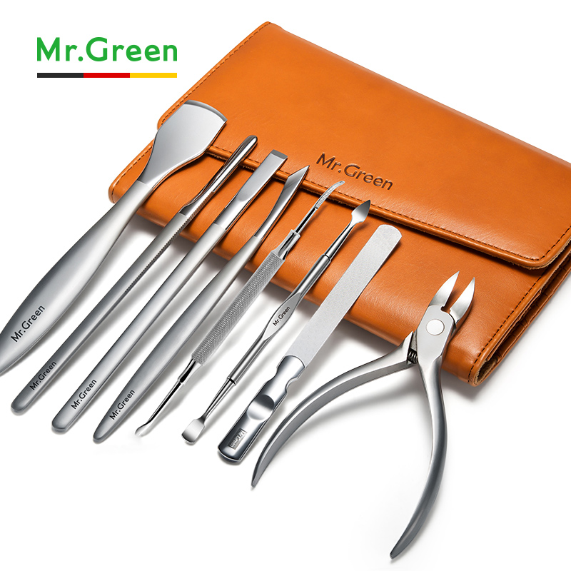 MR.GREEN Pedicure Set Nail Clipper Gift Set Stainless Steel Professional Nail Clipper With Leather Case Manicure Set Nail Kit