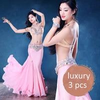 Luxury Swarovski Bra Belt Chiffon Long Skirt Necklace Bracelet 5pcs Belly Dance Set For Women Performance