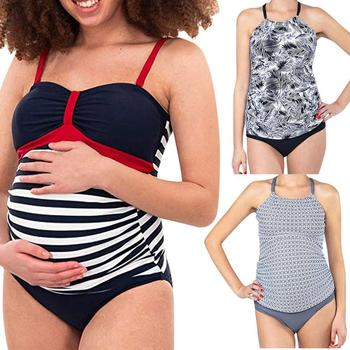2019 Women swimwear Summer Plus Size maternity One Piece stripe Print Bikinis Swimsuit Beachwear premaman bathing suit tankini