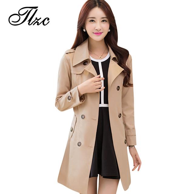 Tlzc otoño y primavera mujer delgada larga trinchera más el tamaño l-4xl estilo coreano cintura ajustable doble de pecho mujer moda abrigos