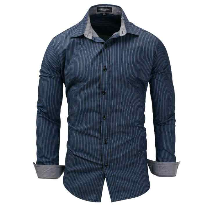 Mens Striped Long Sleeved Casual Shirts 100% Cotton Males Casual Denim Shirts Plus Size Turn Down Collar Camisas For Men J2651