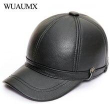 Wuaumx marca Otoño Invierno vaca gorras de béisbol para hombres sombrero de cuero  genuino con oreja mantener caliente vaca cuero. f7cd04671a2
