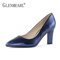 Woman Shoes High Heels Leather Pumps Women Royal Blue Shoes Dress Brand Thick Heels Ponited Toe Spring Lady Party Pumps Black DE