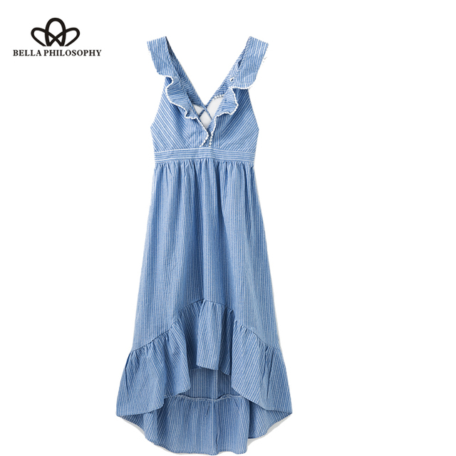 Bella Philosophy summer V-neck sexy women dress spaghetti strap draped ladies vestidos ruffles sweet waist female shirt dress