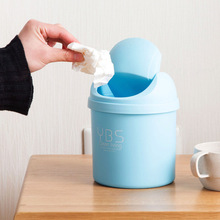 Creative Mini Desktop Trash Small Shake Lid Household Living Room Plastic with garbage can