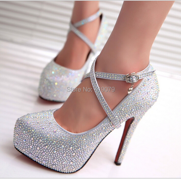 Silver Heels With Crystals