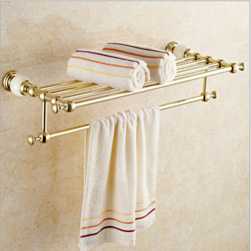 Wholesale And Retail Wall Mount Brass Bathroom Bath Towel Rack Brass Storage Holder Shelf Towel Bar luxury wall mount toilet paper holder bath storage shelf gold brass bath holders