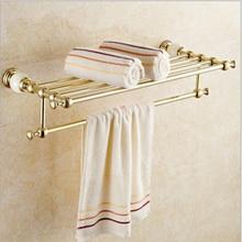 Wholesale And Retail Wall Mount Brass Bathroom Bath Towel Rack Brass Storage Holder Shelf Towel Bar