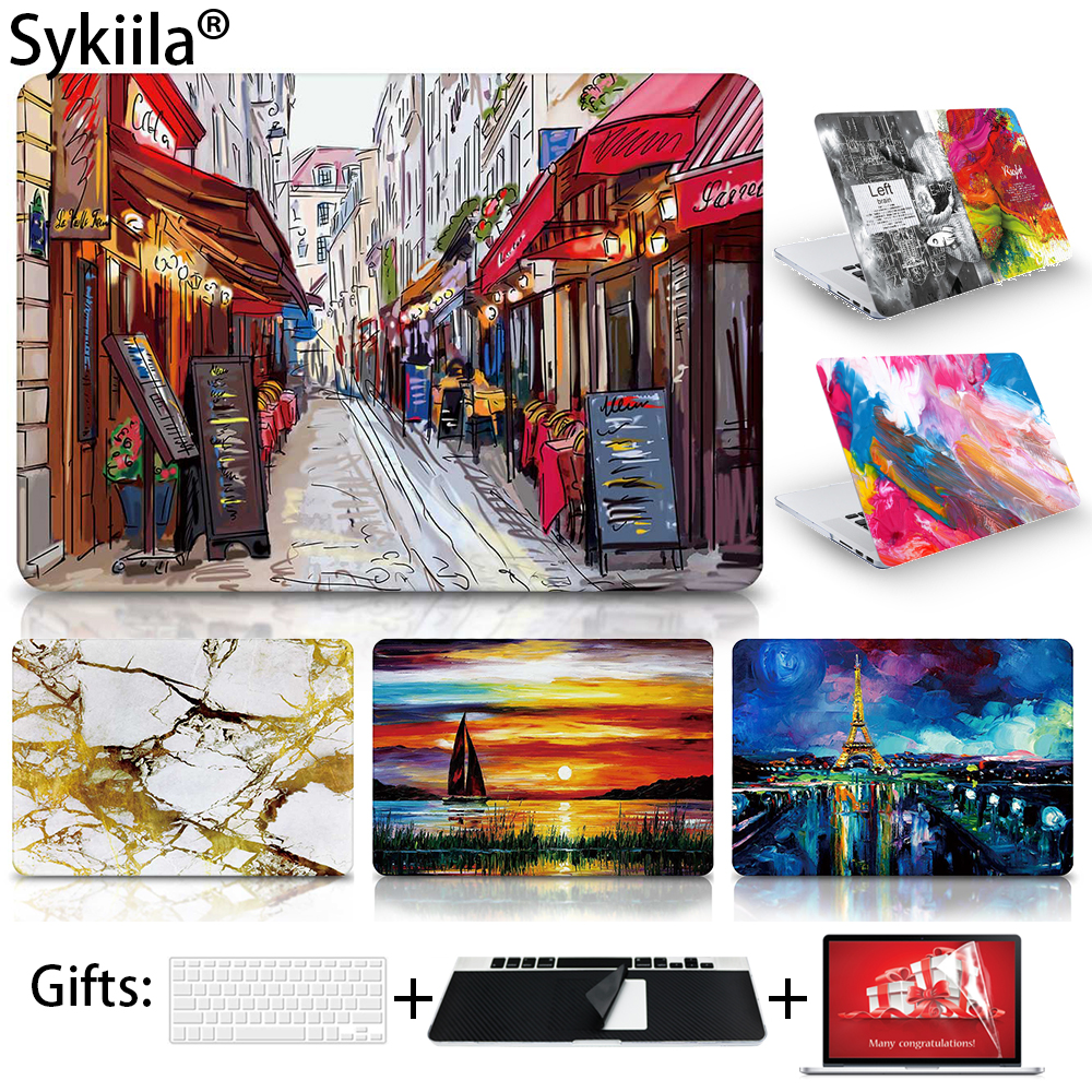 Case For Macbook Pro 13 15 12 Retina Air 11 13 Touch Bar A1706 A1707 A1708 Matte Oil Print Cover Left Brain Marble Wood laptop new animal matte hard case for apple mac book air 13 case fashion women men protective cover for macbook air pro 13 15 case