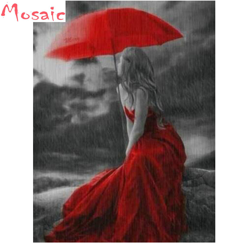 DIY Diamond Painting Black White Girl Red dress umbrella Cross Stitch Mosaic diamond embroidery Needlework Patterns