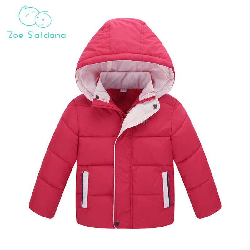 Zoe Saldana Unisex Coat 2017 New Winter Girls Boys Down Cotton Patchwork Warm Casual Hooded Parkas Teenager Detachable Cap Coats zoe saldana 2017 women winter jacket down cotton padded coats casual warm winter coat turn down collar long loose parkas