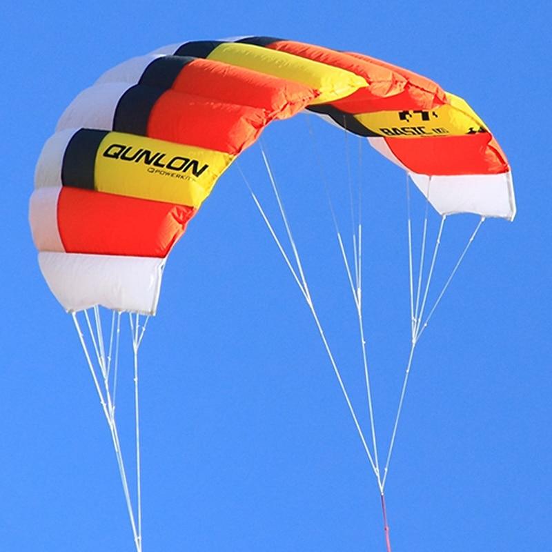 Rouge double ligne cerf-volant électrique 40D Ripstop Nylon pour vitesse voile Kitesurf plage cerf-volant jouant des jouets de plein air volants