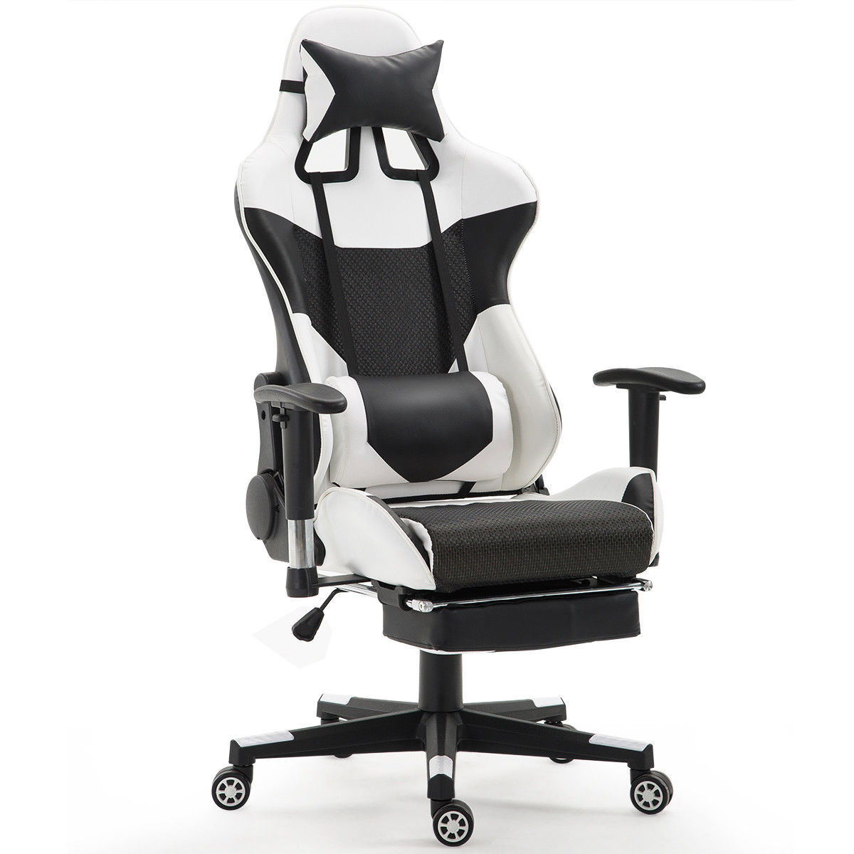 gaming chair with footrest without backrest giantex ergonomic adjustable modern high back