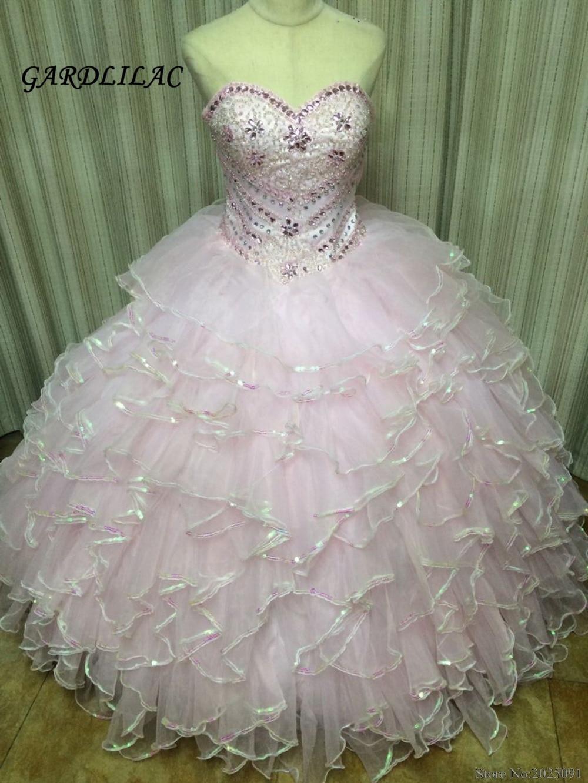 Новые Розовые Платья Quinceanera 2019 Розовое бальное платье Хрустальные бусины Vestidos De 16 Anos Многоуровневое Дешевые Платья Quinceanera