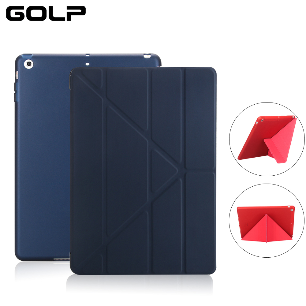 For iPad Air Case, GOLP PC Flip case for ipad 5 +TPU back cover For iPad Air 1 Tablet Case, Smart cover and holder stand ctrinews for ipad air 1 case clear transparent soft tpu silicone back case for apple ipad 5 air 1 tablet pc protective cover