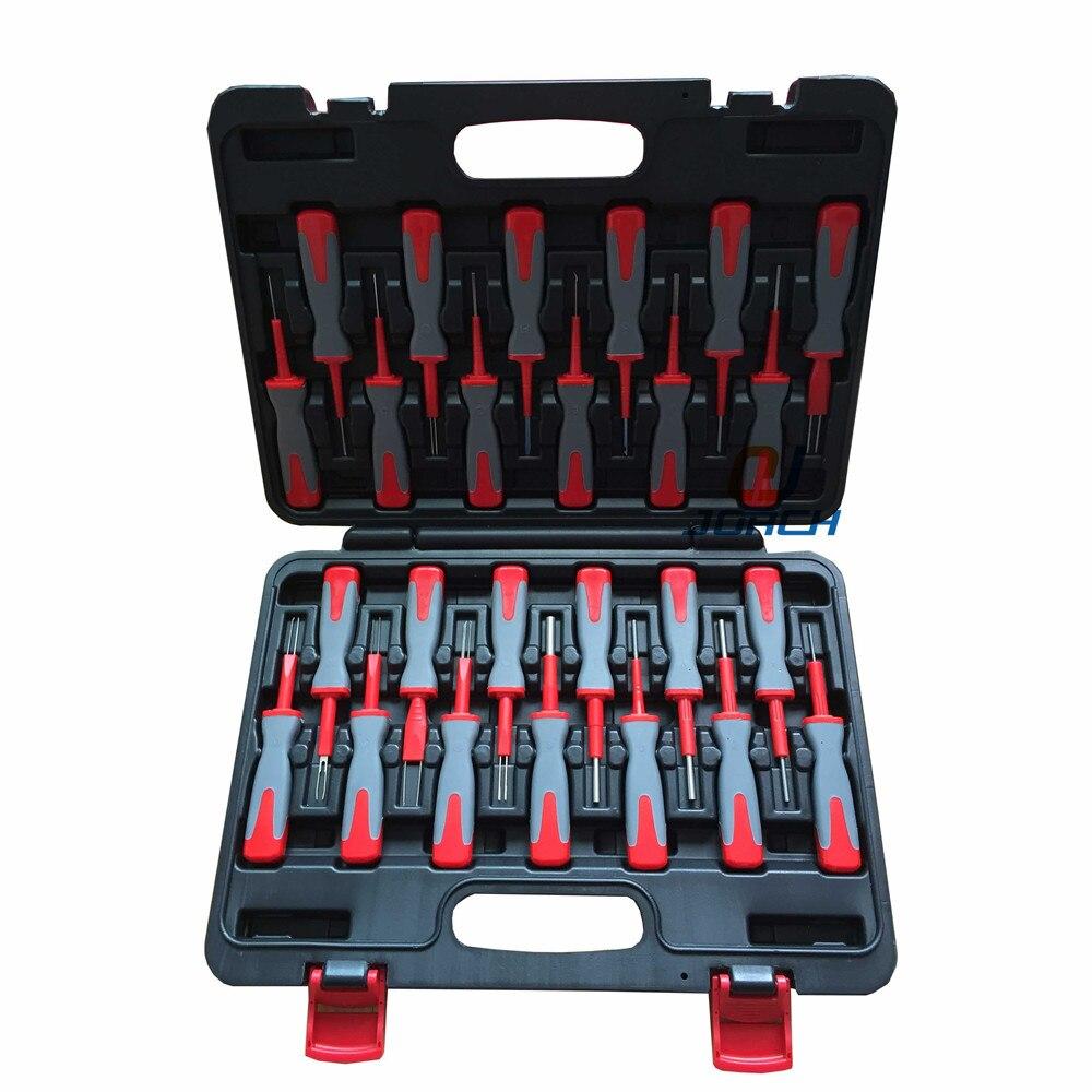 цена на 25 in 1 Terminal Removal Tools Release Extractor Crimp Terminal Removal Dismount Tool Kit for audi VW Molex DELPHI tyco AMP