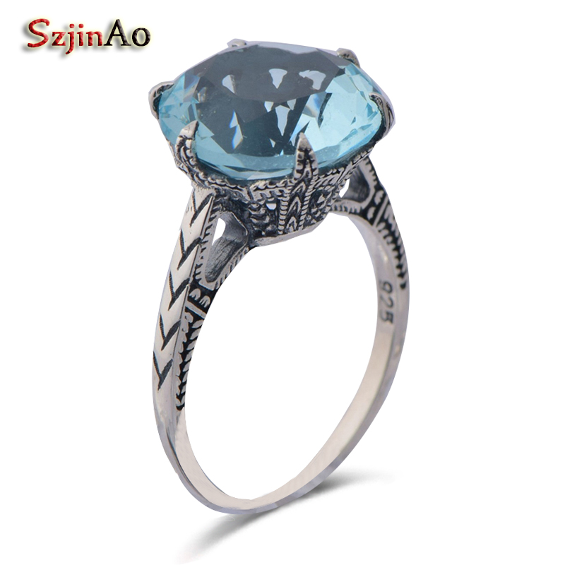 Szjinao 925 sterling silver ancient silver fashion aquamarine female gift jewelry rings vintage boho style wholesale
