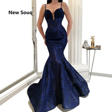 Navy Blue Lace Mermaid Evening Dresses Sexy Spaghetti Strap Illusion V-neck Backless Prom Dress Mother Of The Bride Dresses все цены