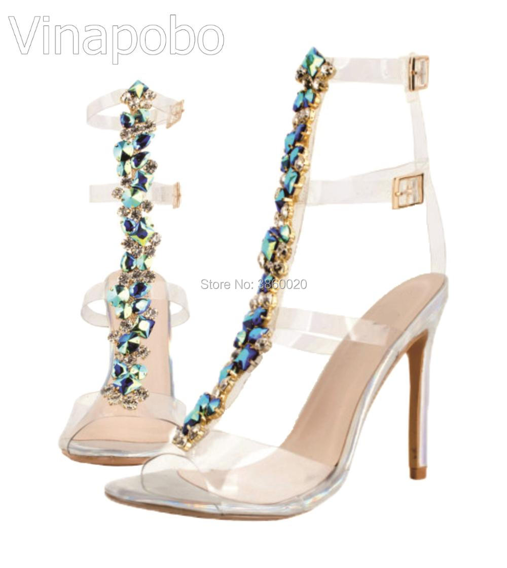 Sexy PVC Transparent Gladiator Sandals Woman Open Toe T strap Rhinestone  Diamond Clear High Heel Shoes Women Summer Boots-in High Heels from Shoes  on ... 9507cc673d21