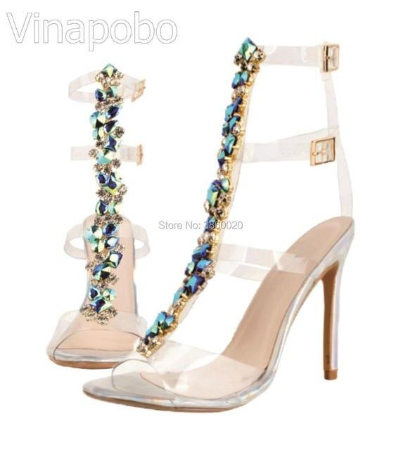 b99d59647d3 Sexy PVC Transparent Gladiator Sandals Woman Open Toe T-strap Rhinestone Diamond  Clear High Heel Shoes Women Summer Boots