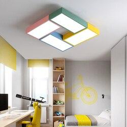 DX nowoczesne lampy sufitowe led kreatywny kolor oprawa dzieci dzieci pokój zabawki cegły oprawa pilot zdalnego sterowania lampa nadaje się do ściemniania Lustre Oświetlenie sufitowe Lampy i oświetlenie -
