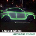 1CM x 41M/Roll Green Fluorescence Sticker Motorcycle Car Luminous Tape Reflective Strip Decal Decoration Reflecting Car Styling