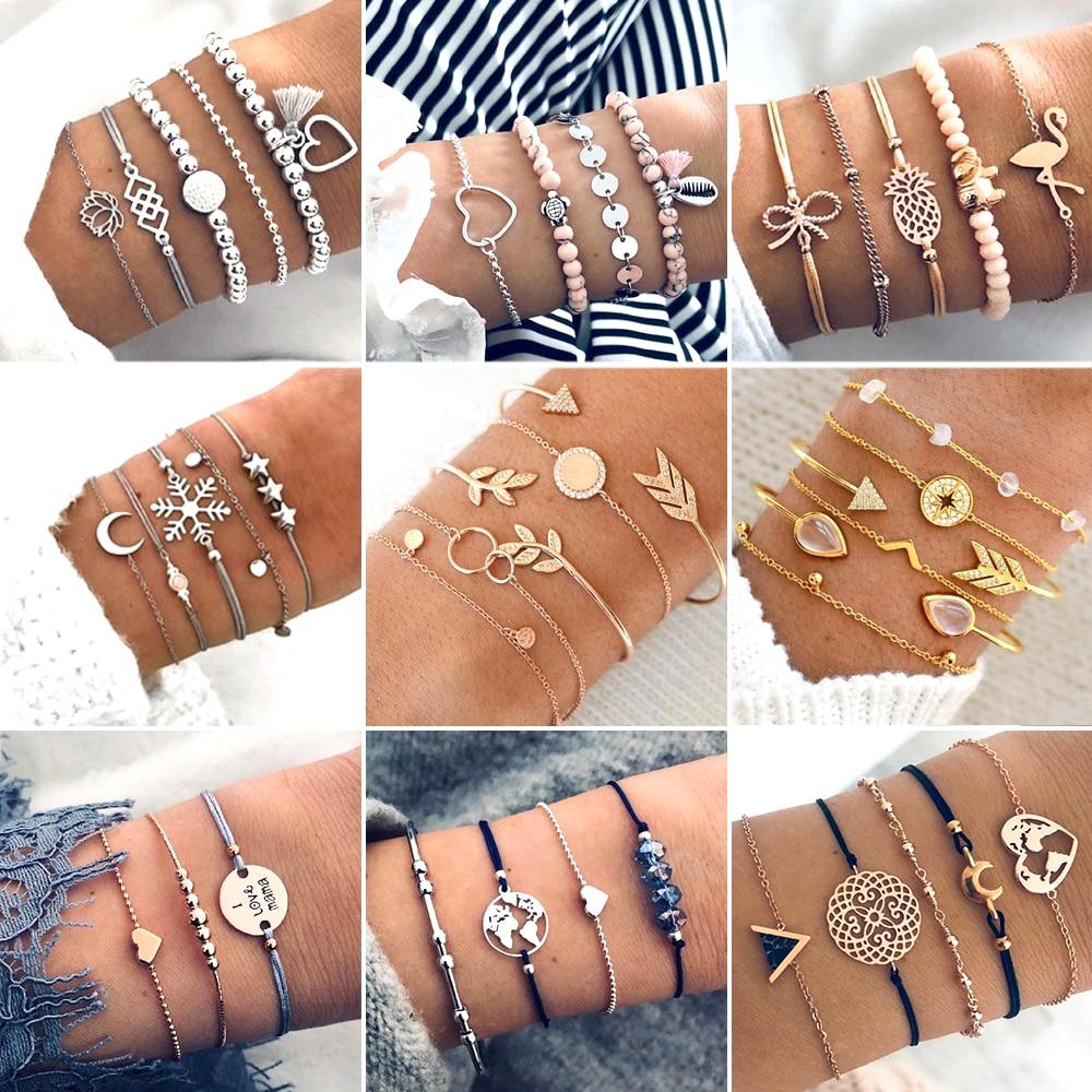 30 Style Boho Style Elephant Armband Heart Beads Star Moon Bow Kaartarmband met kristallen kralen Voor vrouwen charmante feestjes ...