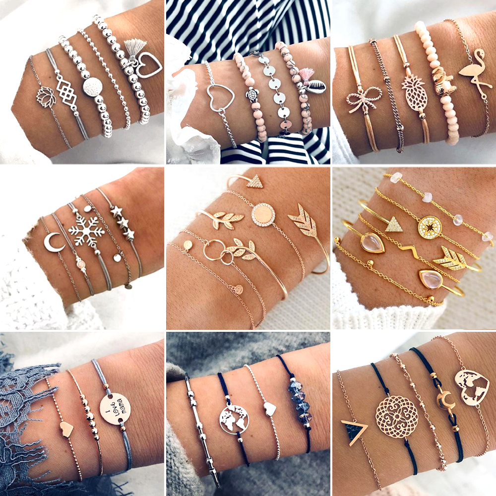 30 Style Boho Bangle Elephant Heart Shell Star Moon Bow Map Crystal Bead Bracelet Women Charm Party Wedding Jewelry Accessories-in Chain & Link Bracelets from Jewelry & Accessories on Aliexpress.com | Alibaba Group