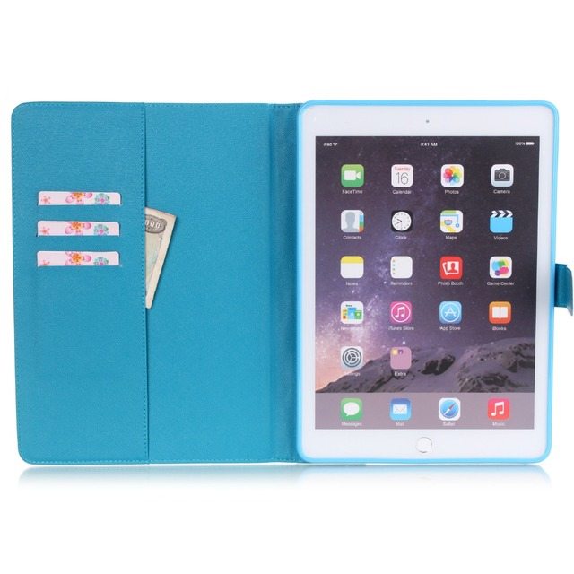 Popular Pattern PU Leather Case With Card Slots For Apple iPad Air 2 Case