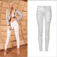 SupSindy Women PU leather pants fashion White Leggings wild Slim pencil pants zipper motorcycle leather pants for women trousers